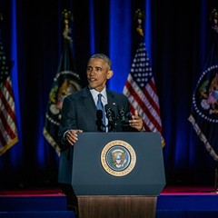 President Barack Obama during his farewell address at McCormick Place Tuesday