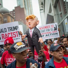Demonstrators marched through downtown in mid-October, then held a rally in front of Trump Tower calling for immigration reform and fair wages.
