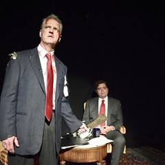 What does Chicago playwright Mickle Maher got against Jim Lehrer?