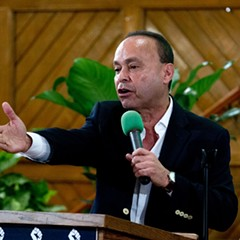 Representative Luis Gutierrez speaks to immigrant rights advocates during a Washington, D.C., rally against President Donald Trump's immigration policies.