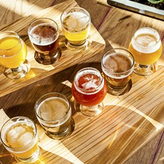 Tasting flight of all nine of the beers on draft at the Whiner taproom