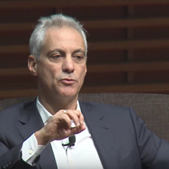 Mayor Rahm Emanuel spoke to Standford graduate students Monday.
