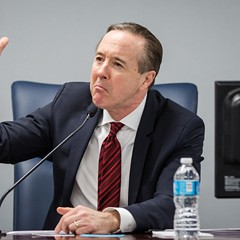 Chicago Public Schools CEO Forrest Claypool responds to speakers at a public hearing hosted by the Chicago Board of Education Monday.