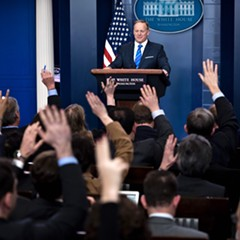 White House press secretary Sean Spicer takes questions during a White House press briefing Monday.