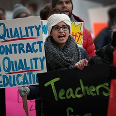 Unionized teachers with Aspira rallied outside one of the charter network's high schools March 9 to try to convince the company to come to terms on a contract.