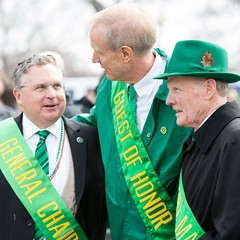 Governor Bruce Rauner, center, and Illinois house speaker Michael Madigan, right, with Chicago Saint Patrick's Day Parade general chairman James F. Hoyne at last year's event