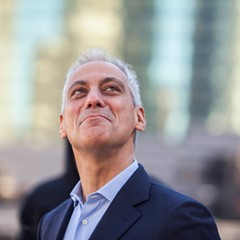 Mayor Rahm Emanuel at the March 7 ribbon-cutting ceremony for the River Point office tower, which was subsidized by $29.5 million in TIF money