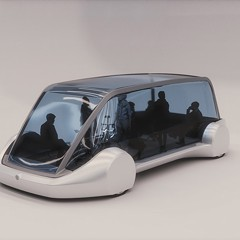 "Model of an ""electric sled""; Elon Musk has said such sleds could shuttle passengers at 125 mph through a tube to the airport."
