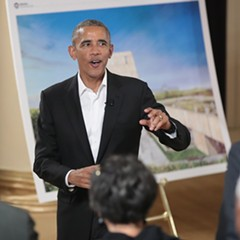 Barack Obama at the South Shore Cultural Center in May hosting a roundtable discussion about the Obama Presidential Center.