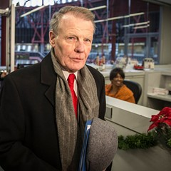 Illinois house speaker Michael Madigan, who keeps a low profile, caught at the Thompson Center in December