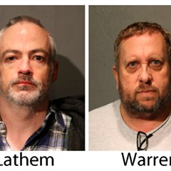 These booking photos provided by the Chicago Police Department show Wyndham Lathem, left, and Andrew Warren on Saturday, Aug. 19, 2017.