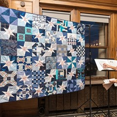 "From the ""Gone but Not Forgotten"" series, a collaborative quilting project by Rachel Wallis memorializing victims of police violence"