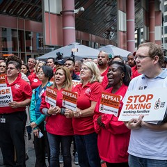 Opponents of the soda tax held a rally outside the Thompson Center Tuesday morning.