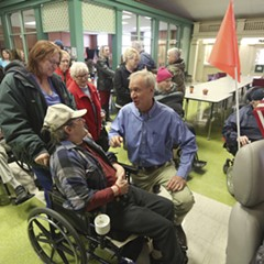 Governor Bruce Rauner at the Illinois Veterans Home in Quincy after a news conference Wednesday