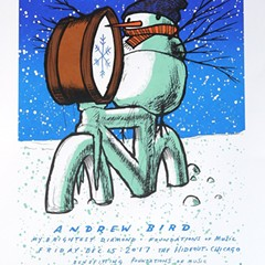 There's a bicycling snowman in a marching band on the gig poster of the week