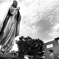 Our Lady of the New Millennium outside Sacred Heart Church in Melrose Park in 2003.