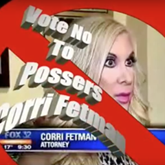 An attack ad lambastes Fetman with photos from her bodybuilding days and includes misspelled word art.