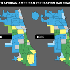 The neighborhood areas colored green have the highest concentration of African-Americans, while those that are blue have the lowest.