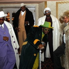 """Don """"Magic"""" Juan and his fellow pimps at Mancow's wedding in 2003"""