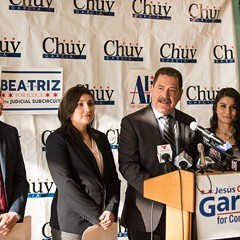 "Jesús ""Chuy"" García introduces a slate of three progressive Latino candidates: Aaron Ortiz, Beatriz Frausto-Sandoval, and Alma Anaya."