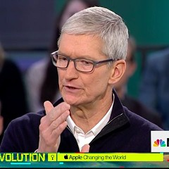 Apple CEO Tim Cook speaks for an MSNBC special taped in Chicago