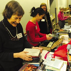 Volunteers at the Evanston Public Library book sale in 2011