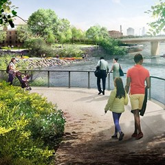 The Lathrop redevelopment will include a revamp of the riverfront with new recreational amenities like kayak launches and landscaping highlighting native flora.
