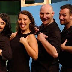 Dan Bakkedahl, second from right, and his castmates in the 2003 Second City revue Doors Open on the Right