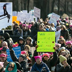 Proposed legislation would allow expanded use of drones (inset) to monitor large public events like the Women's March this past January.