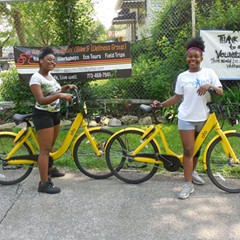 Kids use Ofo bikes from We Keep You Rollin's bike library during a recent group ride.