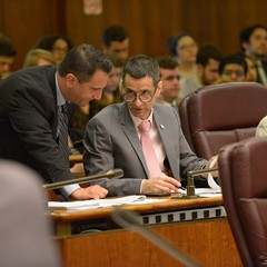 Aldermen Anthony Napolitano (41st Ward) and Nicholas Sposato (38th) at a 2017 City Council meeting. Napolitano recently invoked aldermanic prerogative to block an affordable housing proposal in his northwest-side ward.
