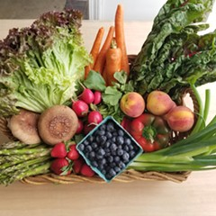 The grand prize for Veggie Bingo is a beautiful basket of vegetables.