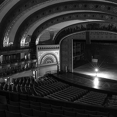 The ghost light onstage at the Auditorium Theatre