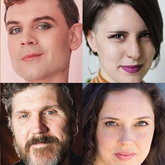 Playwrights for Bechdel Fest 8: Realign (clockwise from top left) Asha McAllister, Lane Anthony Flores, Brynne Frauenhoffer, Ismail Khalidi, Iris Sowlat, Jamie Olah, Robert Koon, and Keyanna Khatiblou