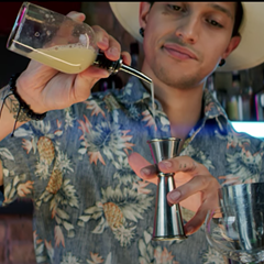 Davíd Leon Jr. mixes up his original cocktail, called Anansi.