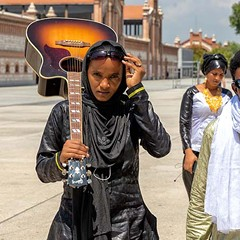Tuareg guitar group Les Filles de Illighadad lock into their groove as a touring band