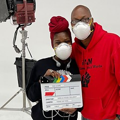 Simeilia Hodge-Dallaway and Reginald Edmund, cofounders of Black Lives, Black Words, on the set of Ride Share at Writers Theatre