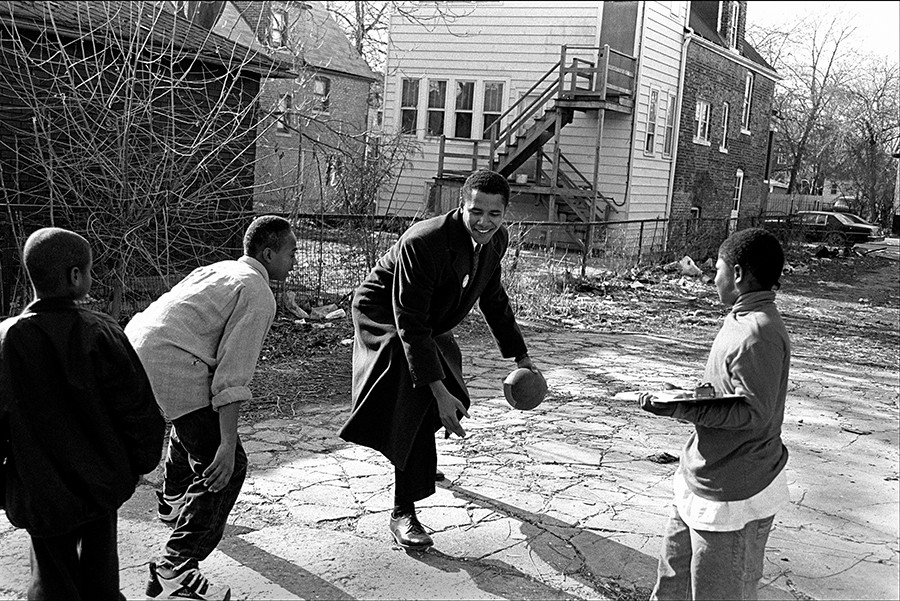 "Alley Ball, 1995 - By Marc PoKempner© for ""What Makes Obama Run?""PoKempner says: ""We began at his campaign office on 71st Street, and walked around the neighborhood, collecting signatures for his nominating petition and meeting residents. He had a very easy way of engaging with everybody—kids, seniors, rich and poor, black and white—and I spent an unusual amount of time shooting—four or five days over the course of a couple weeks—for what turned out to be just a three-picture story."""