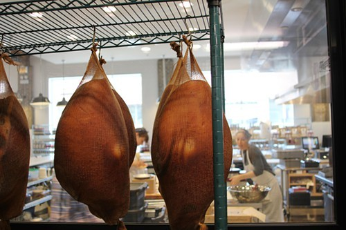 Country hams, aging, overlooking Stock