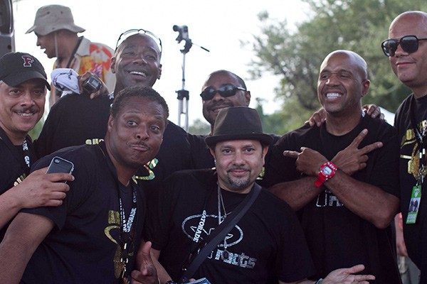 "Top row, left to right: Alan King, Tony Hatchett, Andre Hatchett, guest DJ Kevin Hedge, and Wayne Williams. Bottom row: Jessie Saunders and guest DJ ""Little"" Louie Vega. - DAWN COLQUITT-ANDERSON"