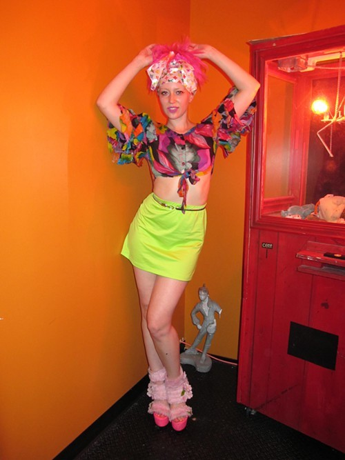 Hostess Claire Van Eijk never disappoints. I still cant forgive myself for not having captured her taco bustier last year at Picthfork - featured in all its glory in The New York Times. Loving her colorful look and Louis Vuitton headscarf.