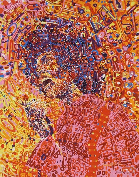 The 1972 painting Revolutionary by Wadsworth Jarrell. He and his wife, sculptor Jae Jarrell, were among AfriCOBRA's founders, and together they ran WJ Studio and Gallery, which hosted concerts by AACM members. - COURTESY THE ARTIST