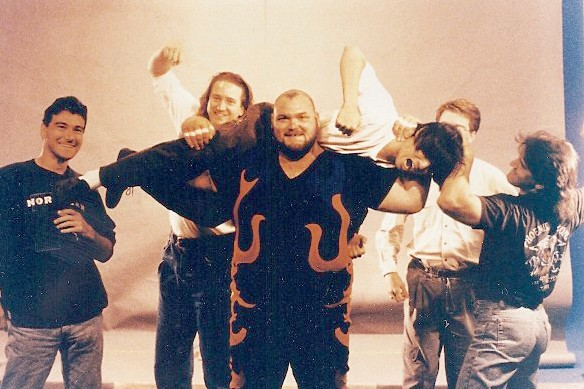 Tsui hoisted by pro wrestler Bam Bam Bigelow - COURTESY JOSH TSUI