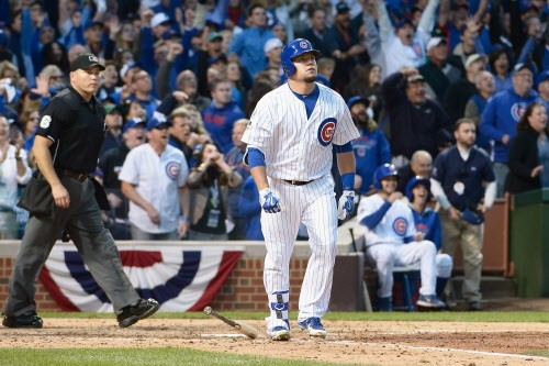 Kyle Schwarber staring out into space, which is where it looked like the ball went. - DAVID BANKS/GETTY IMAGES