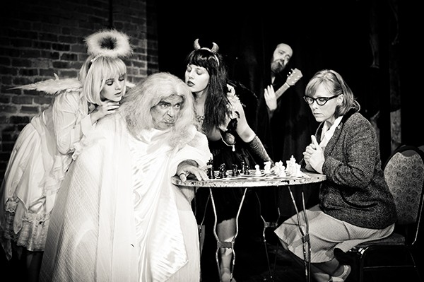 Beau O'Reilly and minions in Curious Theatre Branch's Playing God - JEFFREY BIVENS