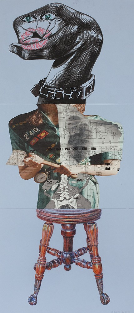 Kerry James Marshall, Stephen DeSantis and Curtis Bartone (from top) contributed to this exquisite corpse.