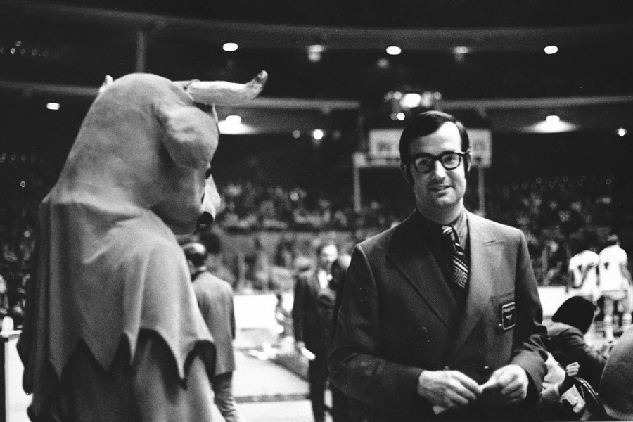 Benny the Bull with Bulls general manager Pat Williams - COURTESY CHICAGO BULLS
