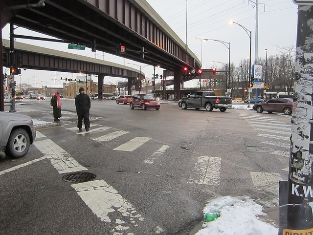 The six-way intersection of Stony, 79th, and South Chicago, located below Skyway access ramps. - JOHN GREENFIELD
