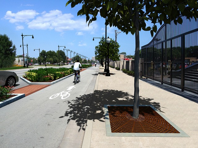 A CDOT rendering of one-way protected bike lanes on Stony Island. In this scenario, two mixed-traffic lanes would be converted to one-way bike lanes on opposite sides of the street. - CDOT