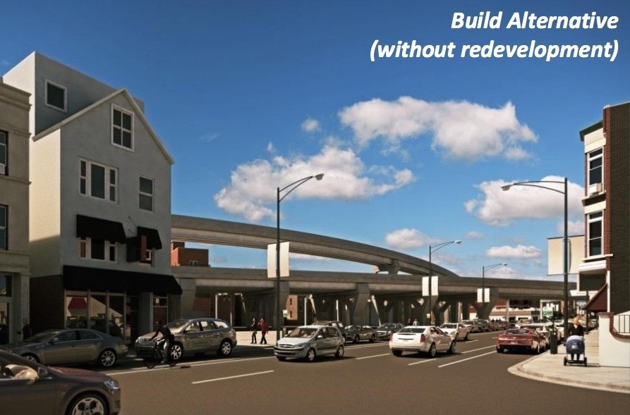 Rendering of the Red-Purple Bypass without redevelopment - CTA